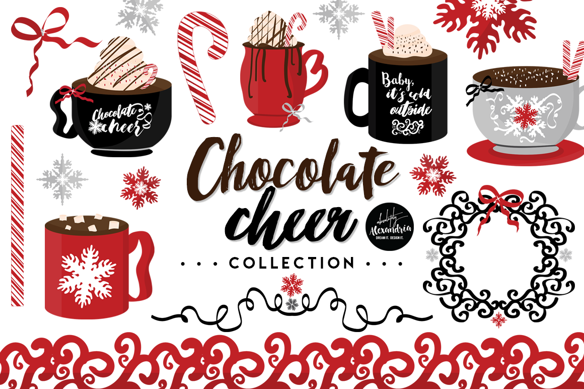 Chocolate Cheer Clipart Graphics & Digital Paper Patterns Bundle.