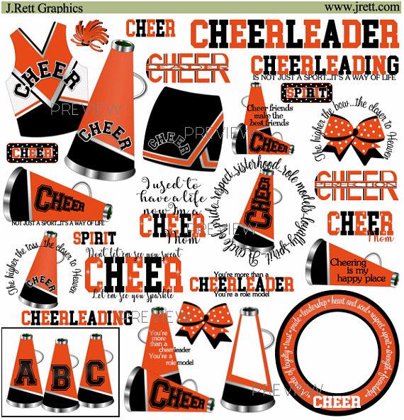 Orange Cheerleader clip art, MORE COLORS, orange black.