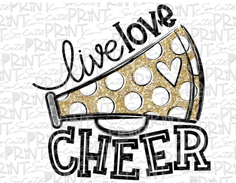 Live love cheer clipart, football mom, Megaphone clipart, transparent PNG  file for sublimation, gold, cheerleader shirt design, cheer mom.