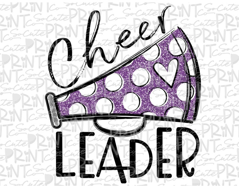 Cheerleader clipart, football mom, Megaphone clipart, transparent PNG file  for sublimation, purple, cheerleader shirt design, cheer mom.