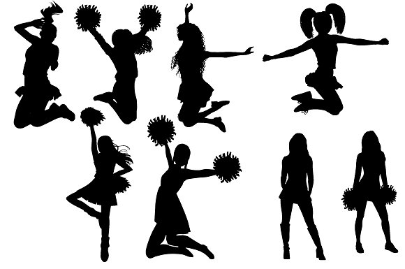 Cheerleader Silhouettes AI EPS & PNG.
