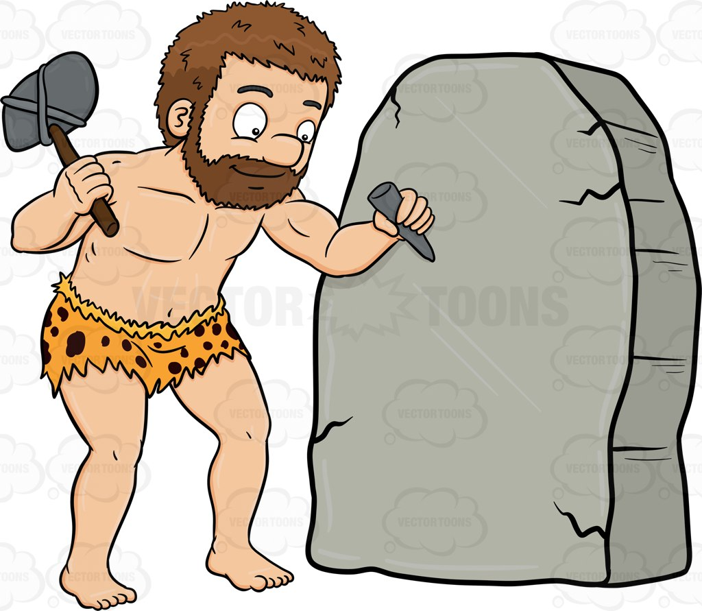 A Caveman Cheerfully Works On A Solid Rock Cartoon Clipart.