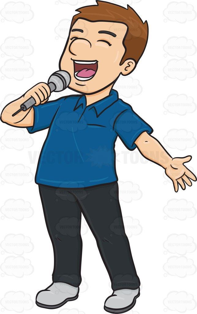 A Man Singing Cheerfully Into A Microphone Cartoon Clipart.
