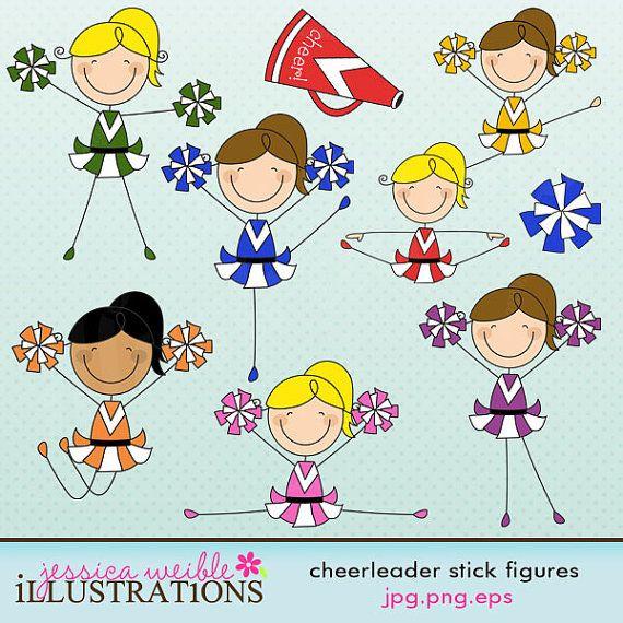 Cheerleader Stick Figures Cute Digital Clipart.