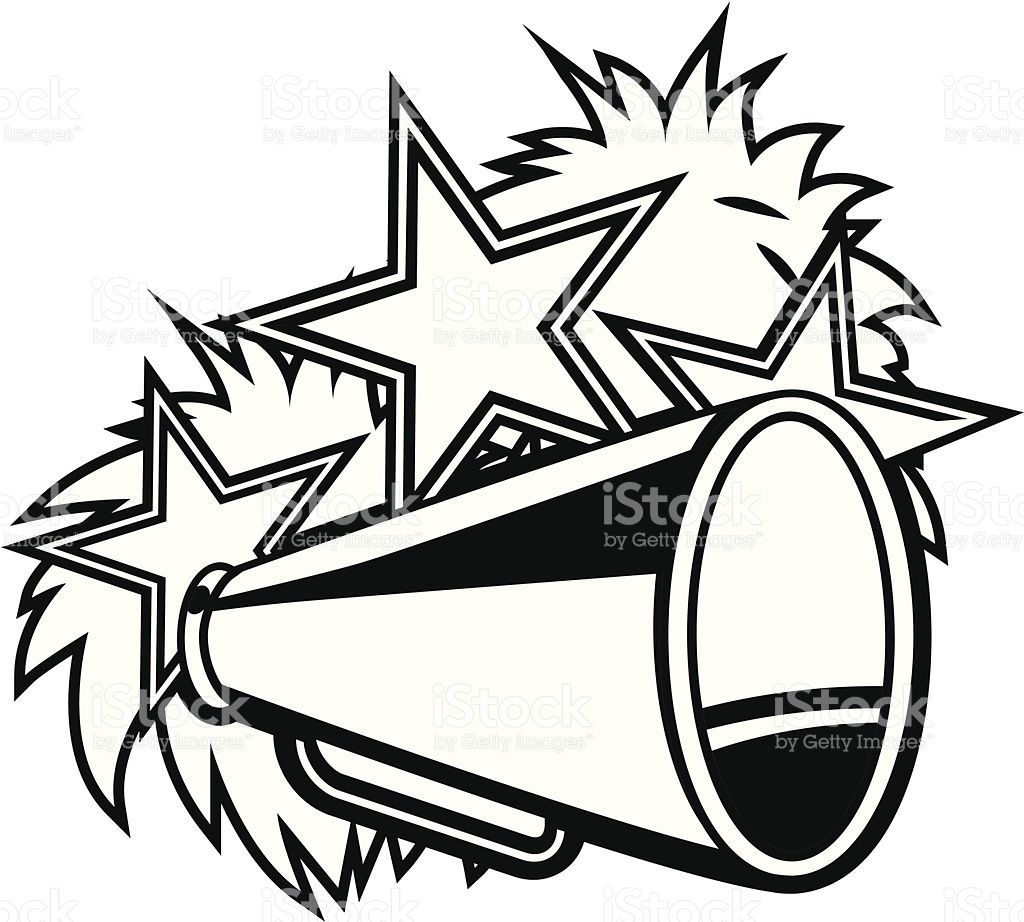 cheerleader clipart black and white #11