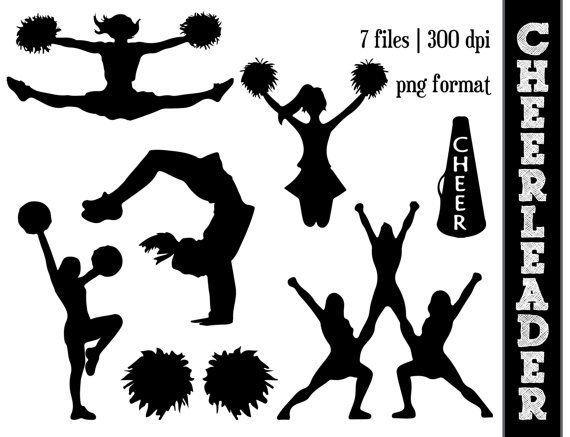 Cheerleader Silhouettes // Cheer Silhouette // Cheering Clipart.