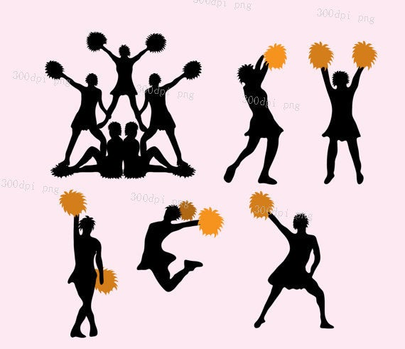 Cheerleading silhouette digital clipart vector eps png files Clip Art  Images Instant Download.