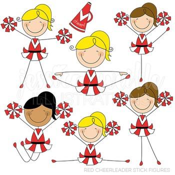 Red Cheerleader Stick Figures Cute Digital Clipart, Cheerleading Clip Art.