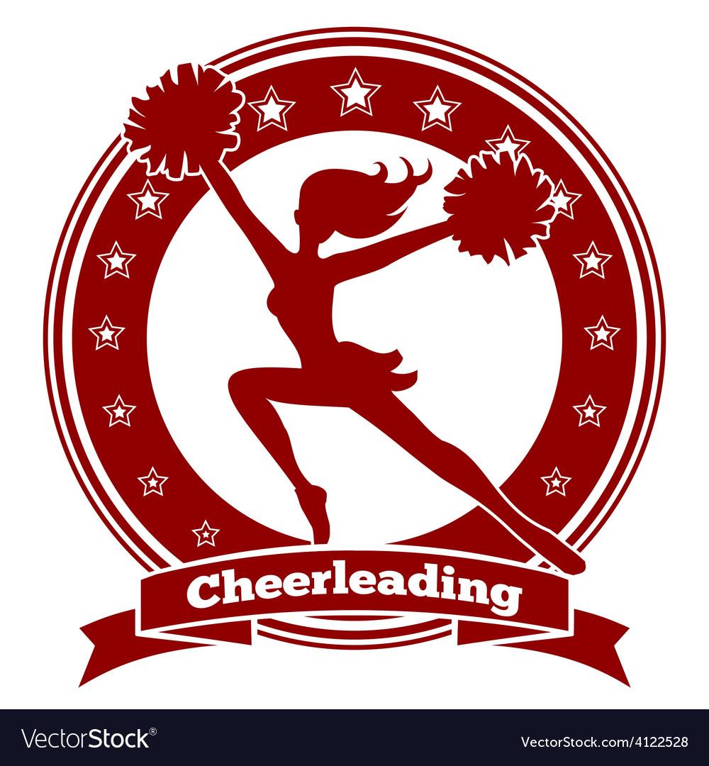 Cheerleader badge or cheer logo.