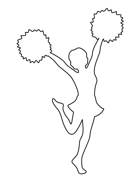 Cheerleader clipart outline, Cheerleader outline Transparent.