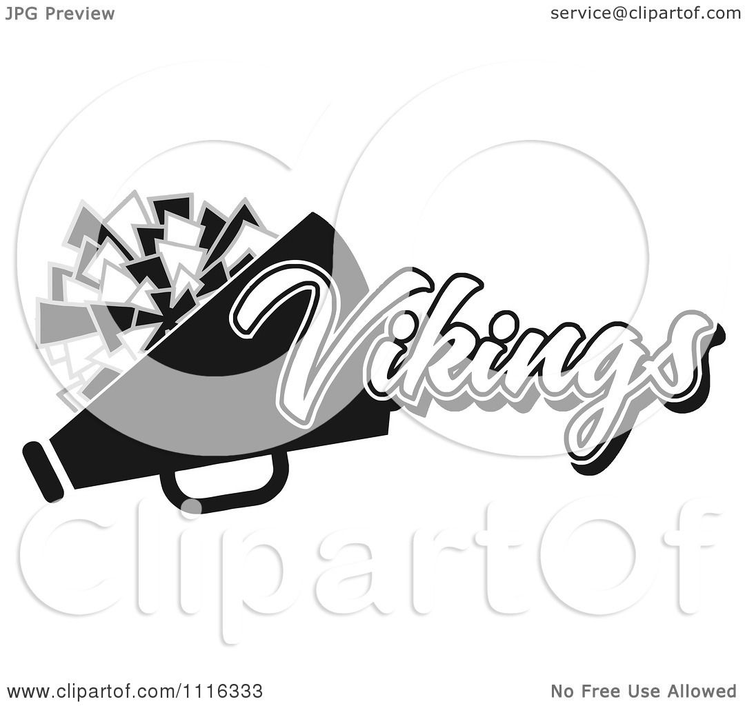Clipart Black And White Vikings Cheerleader Design.
