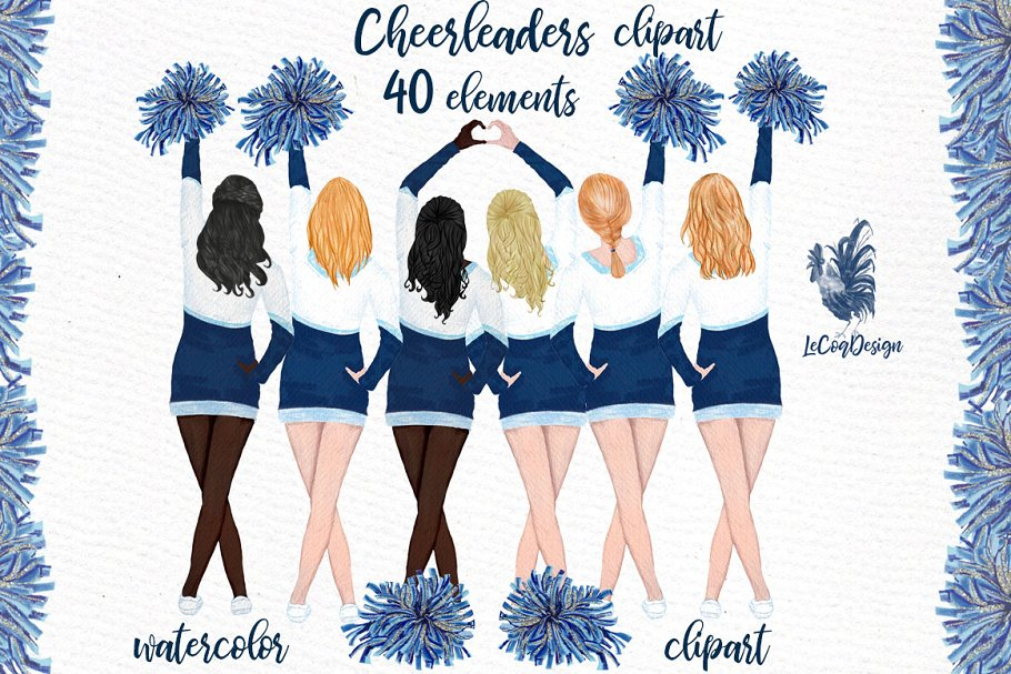 Cheerleaders Girls Clipart ~ Illustrations ~ Creative Market.