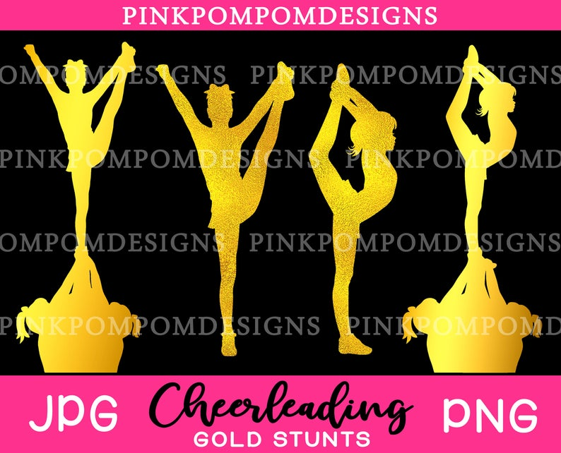 Gold cheerleading clipart set.