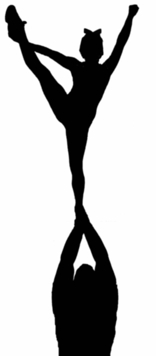 Cheer Stunt Silhouette Clip Art free image.