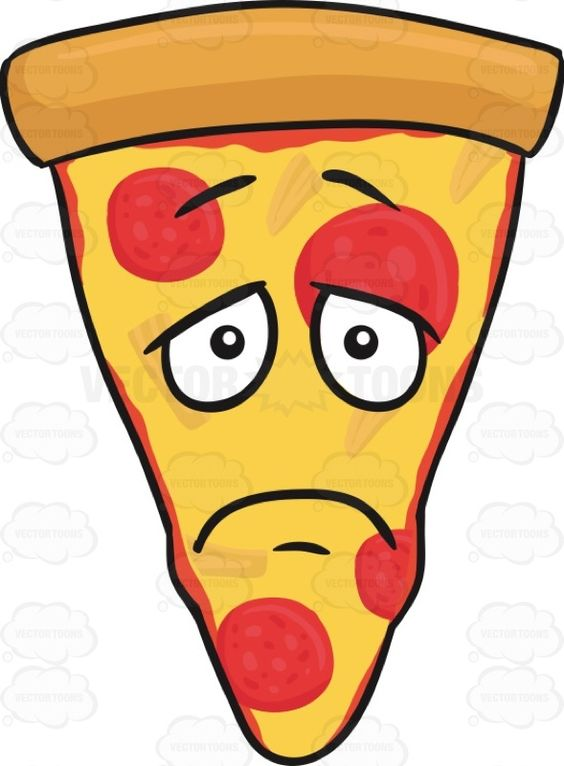 Slice Of Pepperoni Pizza With Depressed Look On Face Emoji.