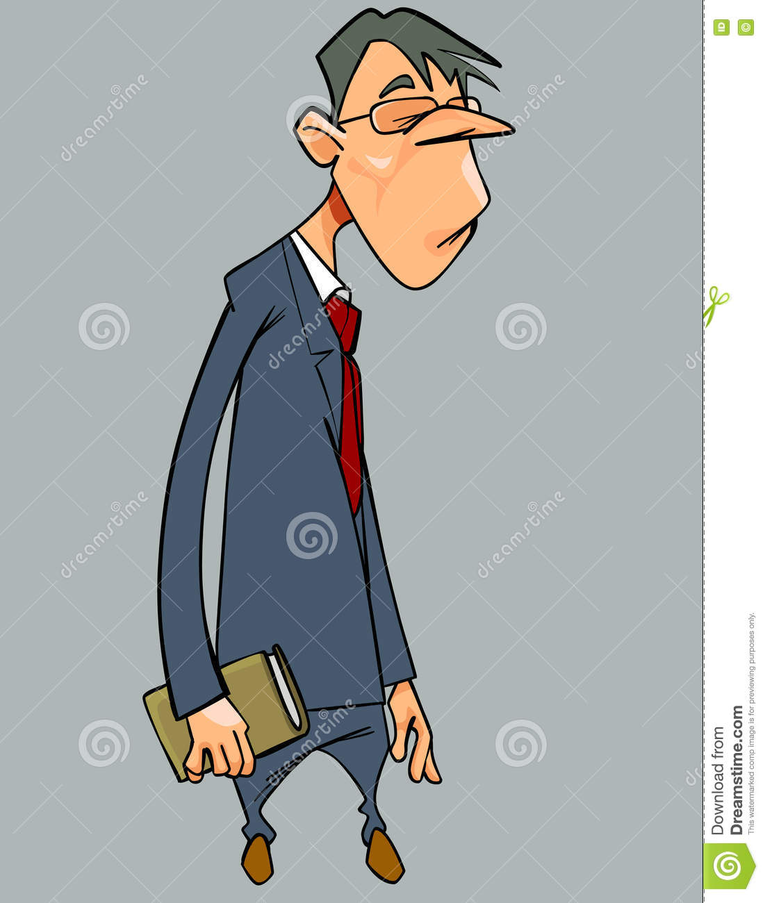 Cartoon Cheerless Man In Suit And Tie With Book In Hand Stock.