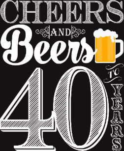 Cheers and Beers to 40 Years Cocktail Napkins.