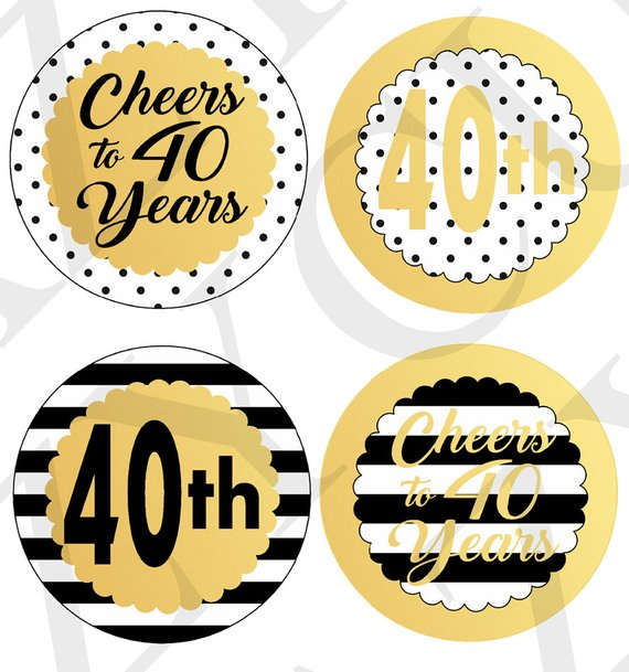 Cheers to 40 Years Centerpiece Picks Printable Centerpiece Instant.