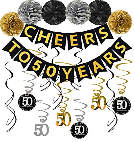 50th Birthday Party Decorations Kit, Gold Glittery Cheers to 50 Years  Banner, Pom.