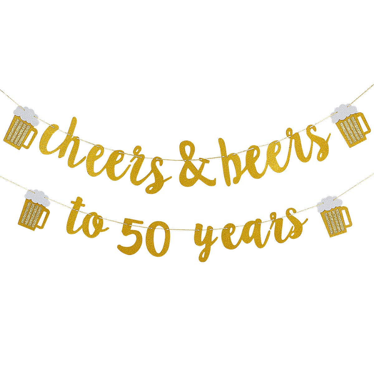 Cheers & Beers to 50 Years Gold Glitter Banner.