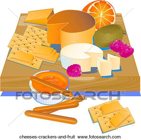 Cheeses, W/Crackers And Fruit.