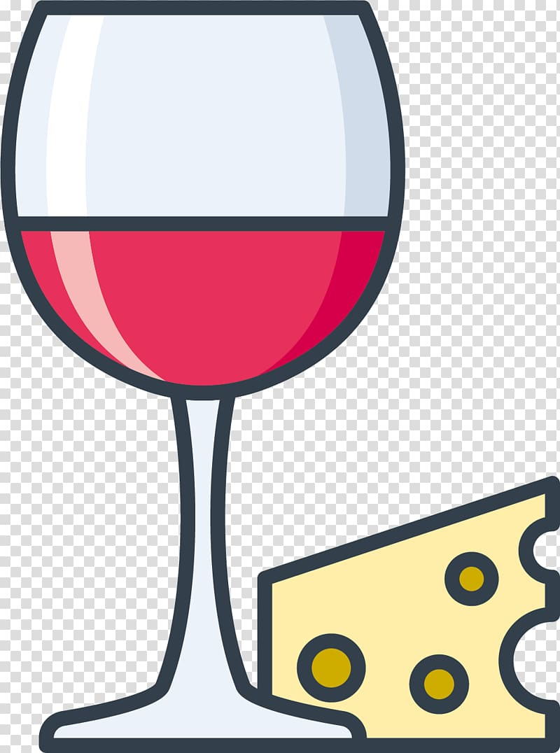 Red Wine Rosxe9 Wine glass , Cheese transparent background.