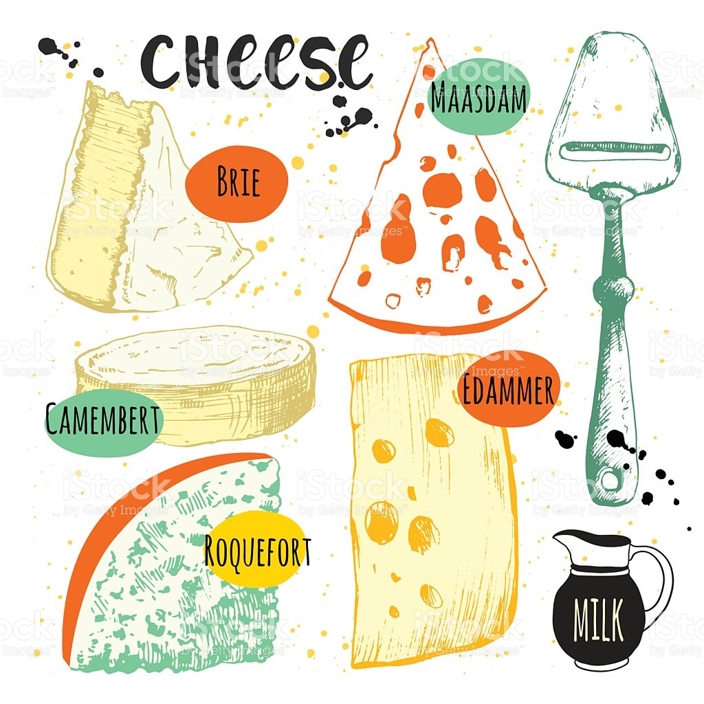 Set With Different Noble Cheeses Bar Of Cheese stock vector art.