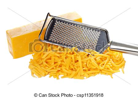 Stock Photography of grated bar of cheddar cheese and metal grater.