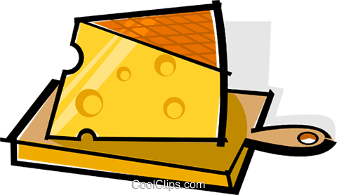 cheese on a cutting board Royalty Free Vector Clip Art.