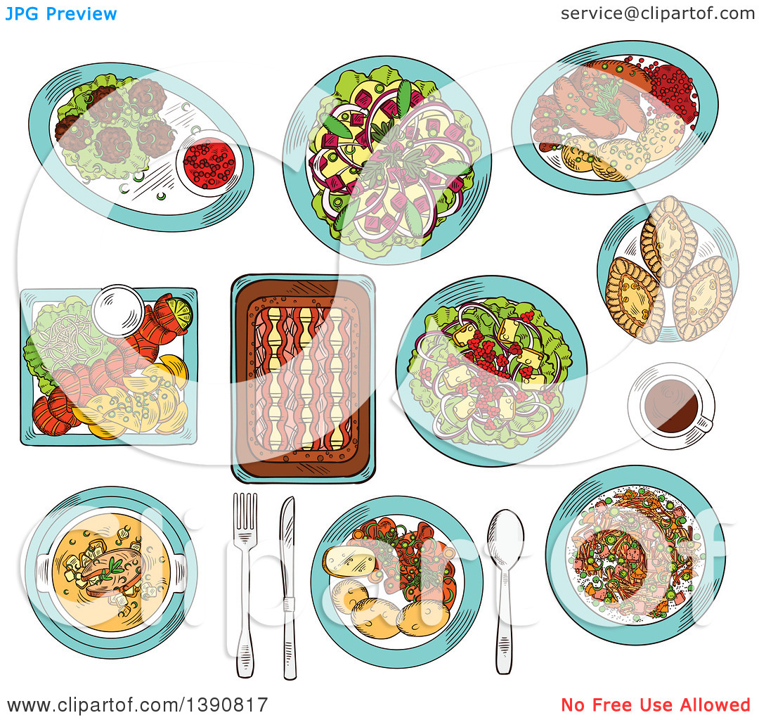 Clipart of Sketched Finnish Cuisine Dishes of Smoked Salmon, Rice.