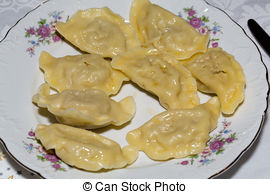 Stock Photographs of Dumplings filled cheese, cabbage and potatoes.