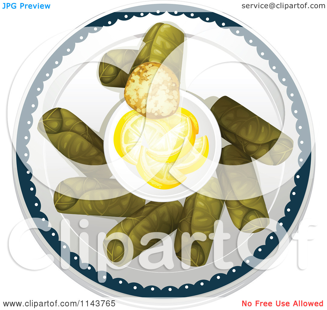 Cartoon Of Grape Or Cabbage Leaf Dolmas Served With Lemons.