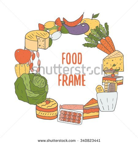 Hand Drawn Doodle Food Frame Cheese Stock Vector 340823441.