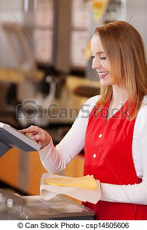 Stock Photography of Saleswoman Preparing Cheese Bill At Grocery.