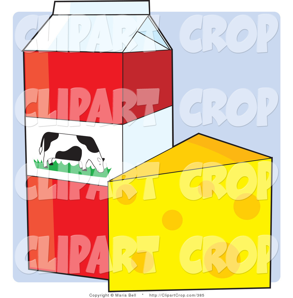 Clip Art Vector of a Carton of Cow's Milk with a Dairy Cow Picture.