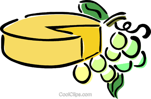 cheese and grapes Royalty Free Vector Clip Art illustration.
