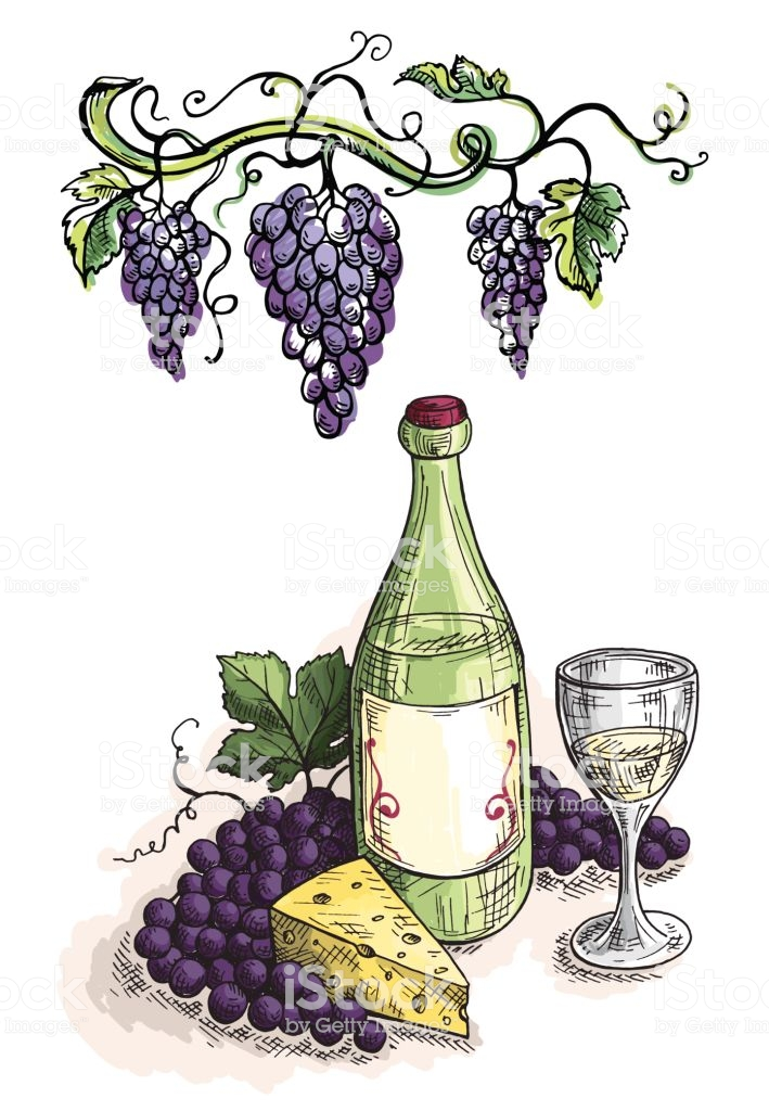 Watercolor Bottle Glass Of Wine Grapes And Cheese Stock Illustration.