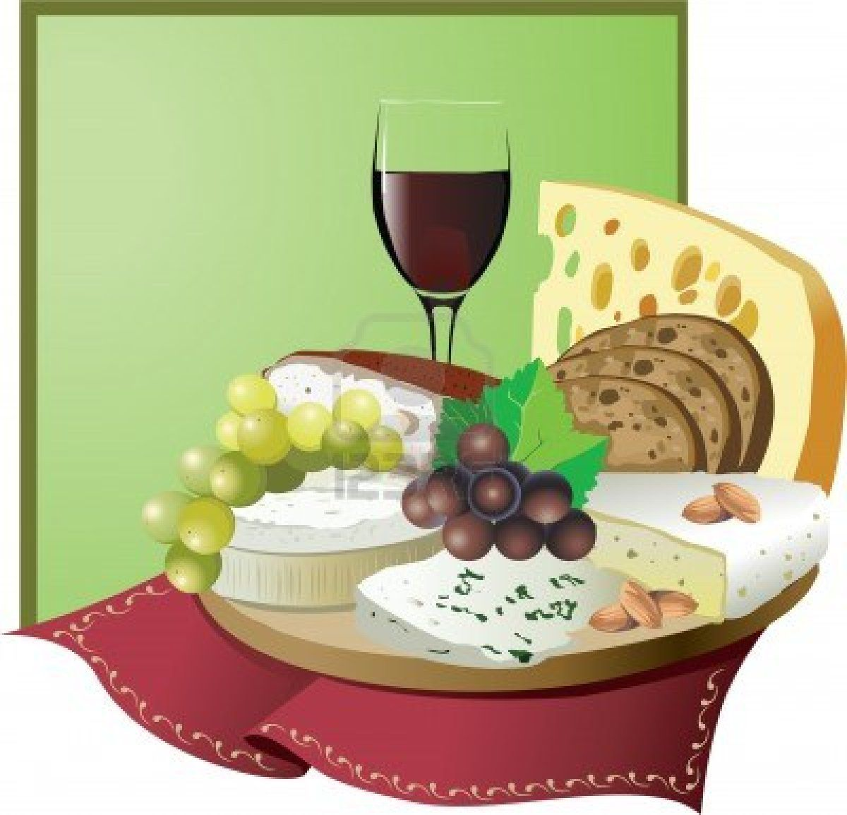 Still life with wine, grapes and cheese.
