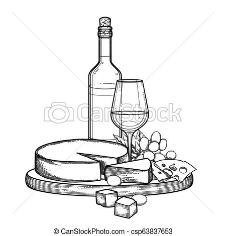 Graphic bottle and glass of wine with camembert cheese and grapes.