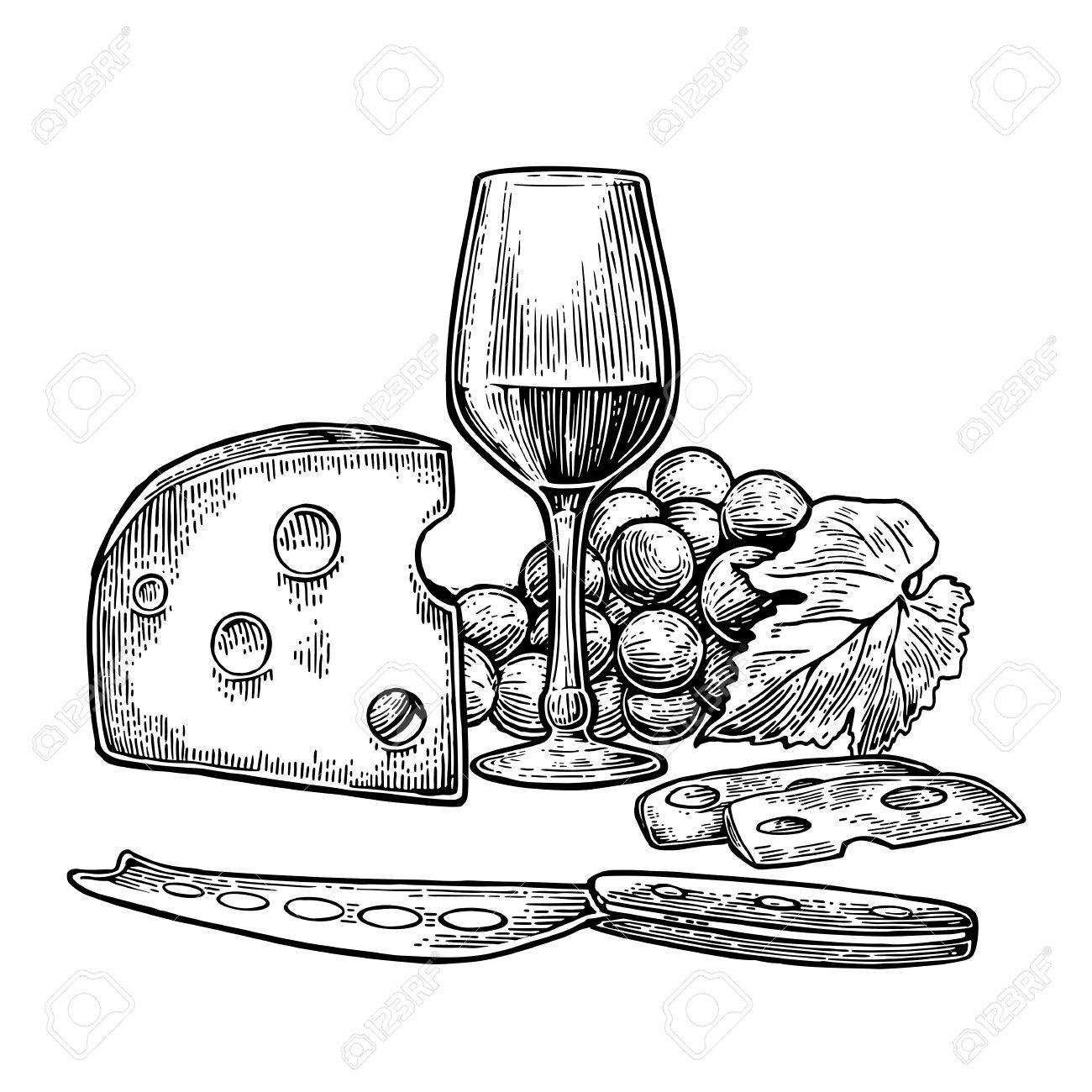 Cheese and wine set. Bottle, glass, bunch of grapes and knife.