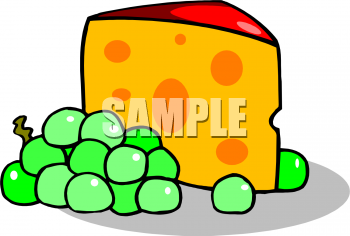 Clip Art Picture Of A Piece Of Cheese With Grapes.