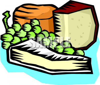 Cheese and Grapes Clipart.
