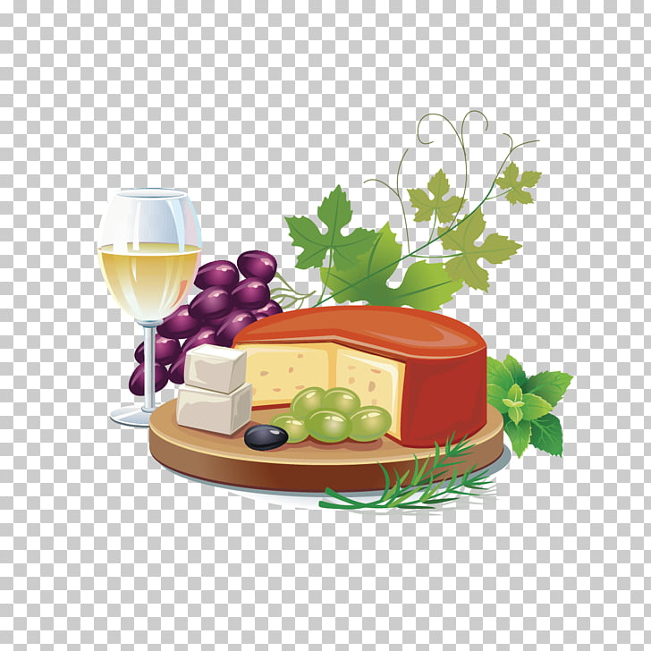 White wine French cuisine Cheese , grapes and cakes PNG.