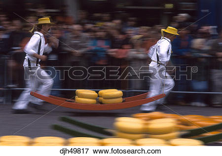 Picture of Holland, Alkmaar, Cheese Market, Carrying Cheese.