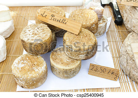 Stock Photo of cheese, market in Nyons, Rhone.