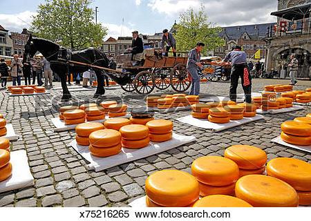 Stock Image of Gouda cheese market, Gouda, Netherlands x75216265.