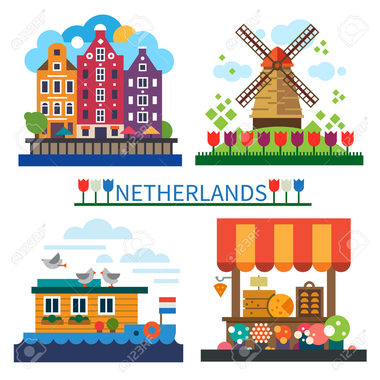 Welcome To Netherlands: Windmill On Field With Tulips Old Houses.