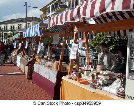 Stock Images of Stalls at local cheese market.