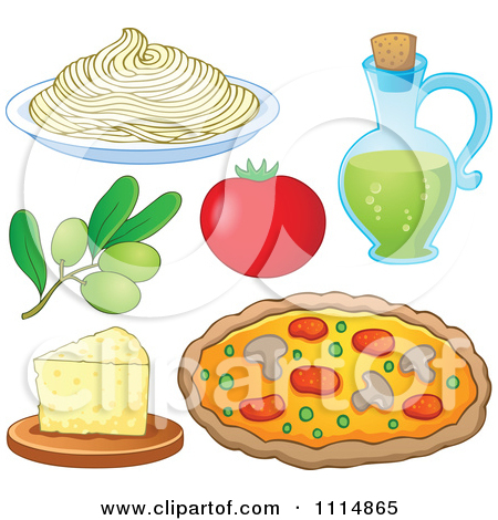 Clipart Italian Food Spaghetti Noodles Olives Tomato Oil Cheese.