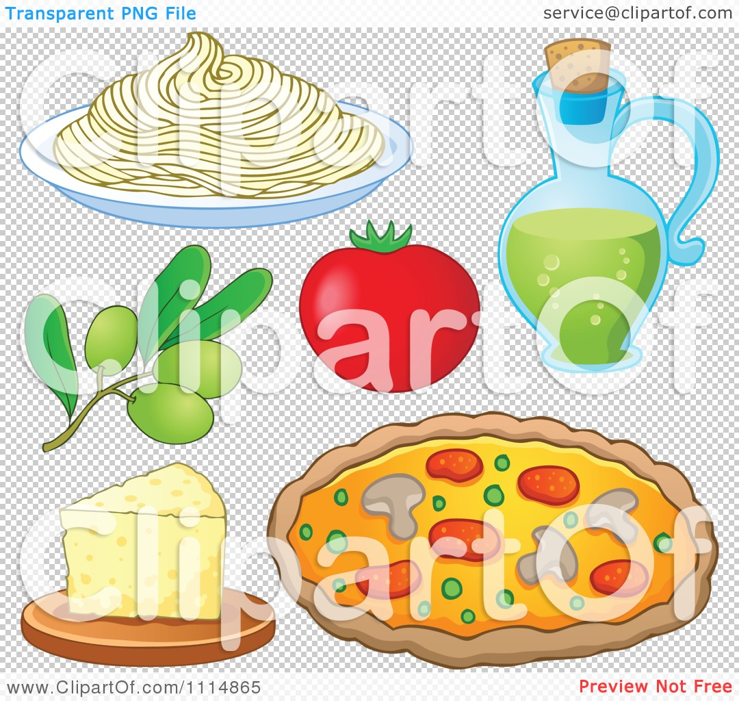 Clipart Italian Food Spaghetti Noodles Olives Tomato Oil Cheese.